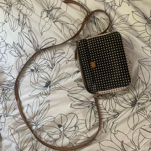FOSSIL leather polka-dot satchel